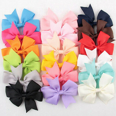 18 Pcs/Bag Hair Bows Kids Cloth Ribbon Boutique Lovely No Clips for Baby Girl LY