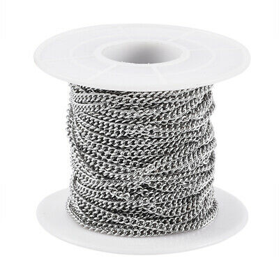 10.9yards/Roll 304 Stainless Steel Curb Chains Unsoldered Oval Link 2.7x2x0.5mm