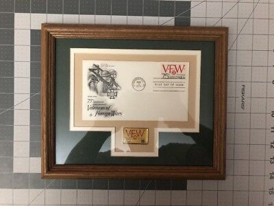 VFW 75th Anniversary Stamp & Pin Framed Collectible Set Rare