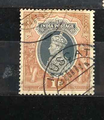 INDIA USED ABROAD KGVI  Re.1 USED IN MUSCAT  Pmk FORGERY