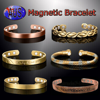 Unisex Copper Steel Magnetic Arthritis Therapy Energy Bracelet Men Health Care