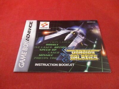 Gradius Galaxies Nintendo Game Boy Advance Instruction Manual Booklet ONLY
