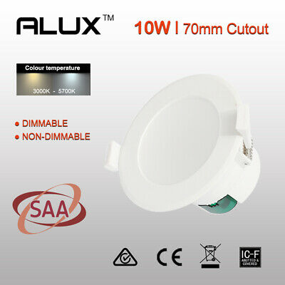 Dimmable/Non Dim LED Downlight Kit 10W 70mm Cutout Warm/Daylight White Flush