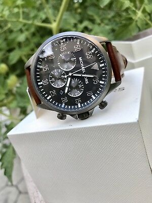 8ef3a4552959 Michael Kors Men s MK8536 Gage Chronograph Grey Dial Brown Leather Watch NWT