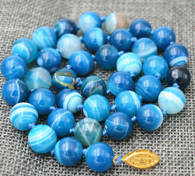 10Mm Antique Art Deco Genuine Rare Blue Chalcedony Agate Beads Necklace 18""