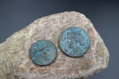 Rare set of TWO Ancient Roman Egypt Alexandria ANTONINS PIUS Coins, 181-161 AD