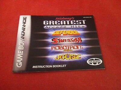 Midway's Greatest Hits Nintendo Game Boy Advance Instruction Manual ONLY