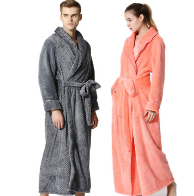 AU Hot Women's Men's Fleece Long Bath Robe Dressing Gown Soft Cover Home Coats