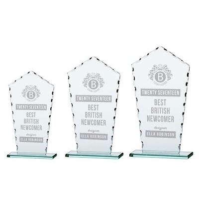 Personalised Engraved Jade Defender Glass Award - Add Text Or Your Own Logo