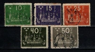 Sweden 1924 UPU Congress selection SG 147-48, 150, 153, 155 Used