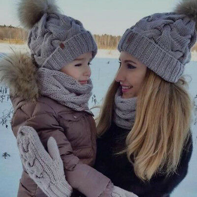 Mother Baby Knitting Fur Pom Bobble Hat Winter Warm Beanie Knitted Matching Cap