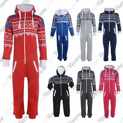 New Kids Girls Boys Unisex Aztec Print Zip Up All In One Hooded Jumpsuit