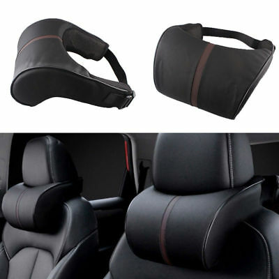 Universal Memory Cotton Headrest Black PU Leather Neck Rest Cushion Pillows