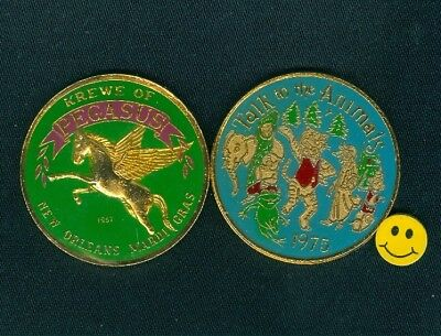 1975 Elephant + Frog + Wolf + Pig Tiger Multi Color Mardi Gras Doubloon Pegasus