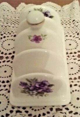 Ceramic White With Purple Pansies Price Kensington Potteries Toast Rack