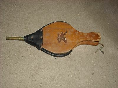Vintage Wood Leather Brass Fireplace Bellows /Air Blower /Fire Starter, w/ Eagle