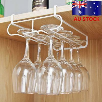 AU! Under Cabinet Wine Glass Rack Holder Stemware Metal Hanger Shelf Bar Kitchen