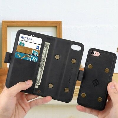 Luxury Genuine Real Leather Detachable Flip Case Wallet Cover For iPhone 5 6 7 X