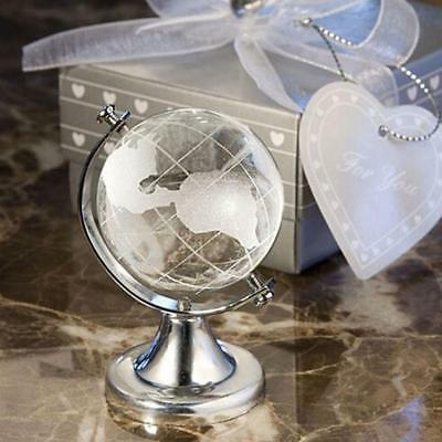 Crystal Round Earth Globe World Map Glass Clear Paperweight Stand Desktop Decor