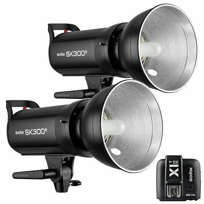 2X Godox SK300II 300W 2.4G Flash Strobe Light + X1T-N Transmitter for Nikon 220V