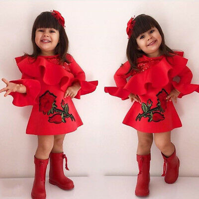 Xmas Kids Baby Girl Embroidery Flower Ruffle Princess Party Pageant Formal Dress