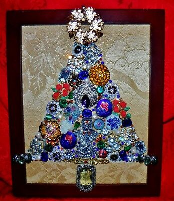 Vintage Jewelry Art Christmas Tree, signed,framed One of a KIND