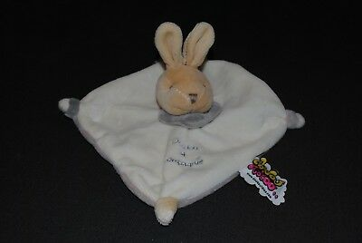 Peluche Doudou & Compagnie Lapin Plat Beige Crème Taupe Gris Tatoo NEUF