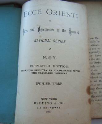ANTIQUE 1897 ECCE ORIENTI FREEMASON MASONS 11th EDITION BOOK