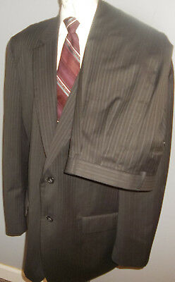 Joseph Feiss Suit Mens 46R Brown Stripe Wool 2 Button Pants 38x29 Pockets Sealed