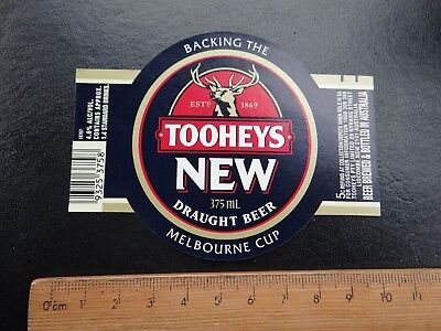 1 x 375ml TOOHEYS NEW DRAUGHT BEER COLLECTABLE BEER LABEL