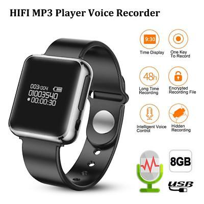 Digital Voice Recorder Watch 8GB Sound Audio Recorder USB Rechargeable 96Hr