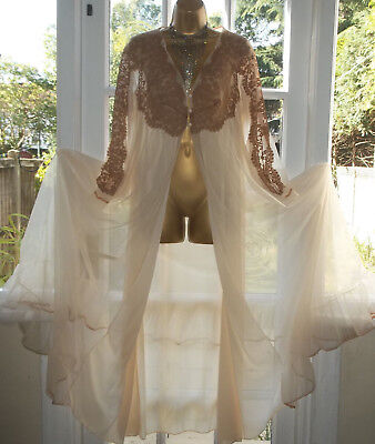 """Vintage Lux Lux Double Layer Nylon Lacy Full Sweep Night Robe Gown 38""""Tall Girl"""
