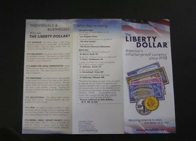 Liberty Dollar Silver Certificates,  Original $10 Base Factory Brochure