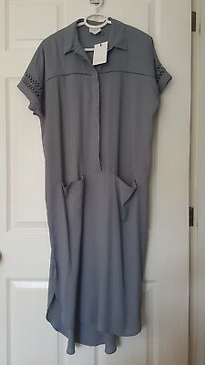 NEW WITH TAGS Asos Maternity Shirt Dress Size 10 Grey/Blue WITH POCKETS