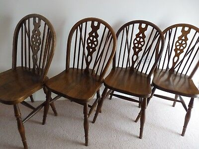 Set of Four Antique Windsor Wheel Back Chairs Collection from Wiltshire