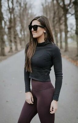 Lululemon Hill And Valley Mock Neck Crop Top Sz 4 Small Black Cropped Rulu Shirt