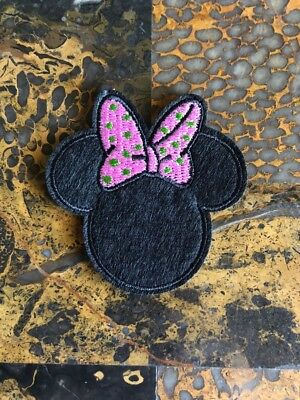 "1 Minnie Mouse Pink Green Iron On Sew On Patch 2.75""L x 2.75"" W Same Day Ship"
