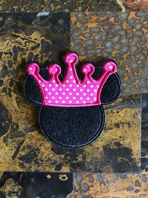 "1 Minnie Mouse Crown Princess Iron On Sew On Patch 3"" L x 3"" W Same Day Ship"