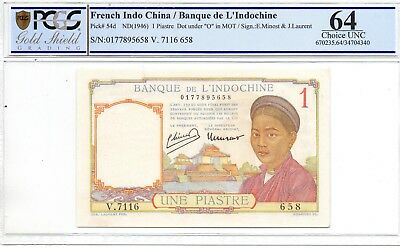 Banque de L'Indochine 1 Piastre  no date ( 1946 ) in PCGS 64