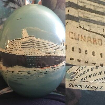 Hand Painting Ostrich Egg Cunard Queen Mary 2 Ship Maiden Voyage QM2 2004