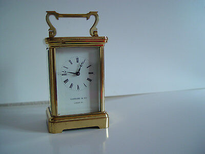 ENGLISH GARRARD & CO LONDON W1 Brass Carriage Clock & Key