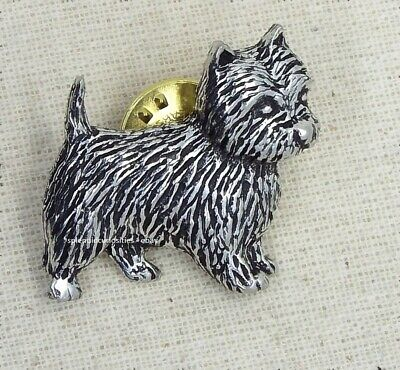 Westie Dog Pin Badge Brooch English Silver Pewter in gift pouch