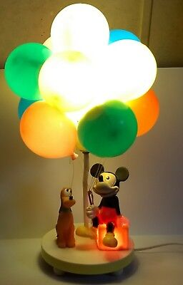 Vintage Disney Mickey Pluto Balloon 3-Way Lamp and night light as is