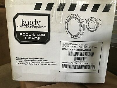 Jandy WaterColors LED Pool Spa Light CSHVRGBWS150Large 12V 150' Cord - Stainless