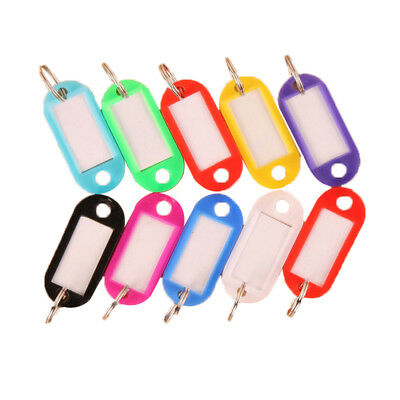 10Pcs Small Plastic Key Fobs Luggage ID Tags Labels Key rings with Name Cards US
