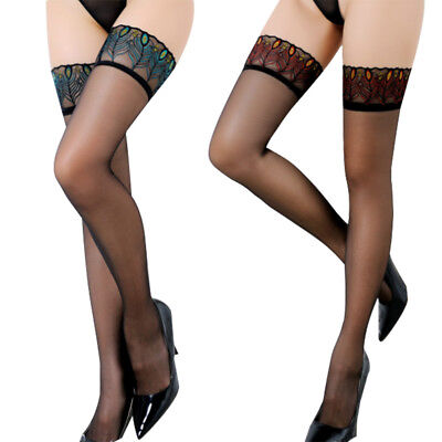 Lace Top Stay Up Stockings Sexy Ladies Sheer Thigh High Pantyhose Hold-up Tights