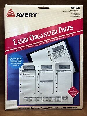 AVERY 41256 Organizer Pages 6-Hole Planner Refill 3 3/4 x 6 3/4 Day Runner Timer