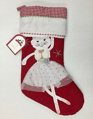 NEW Pottery Barn KIDS Dancing Kitty Ballerina Quilted Christmas Stocking~NO MONO