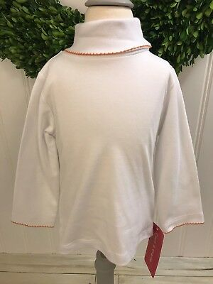CLAIRE & CHARLIE NWT White Orange Classic Turtleneck Top ~ Size 2T ~