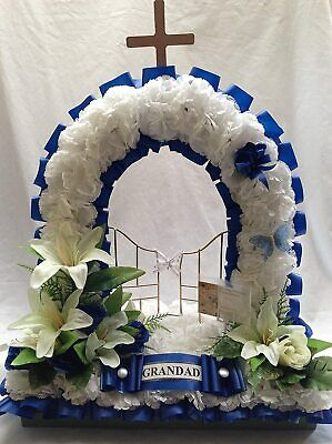 Artificial Silk Funeral Flower Gates of Heaven Memorial Tribute Personalised